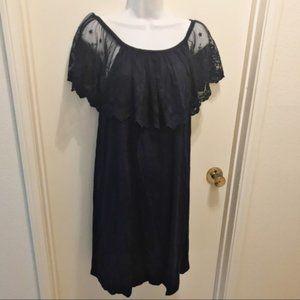 INDIGO ROSE Blue Lace Off the Shoulder Dress L